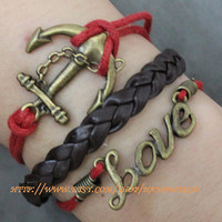 bronze anchor love bracelet by handworld