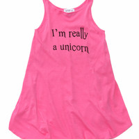 KIDS I'M REALLY A UNICORN CASSIDY DRESS at Wildfox Couture in  BLEACHED AQUA, NMAG