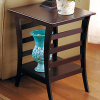 Contemporary Walnut Finish Accent End Table Furniture Side Table Living Room Den