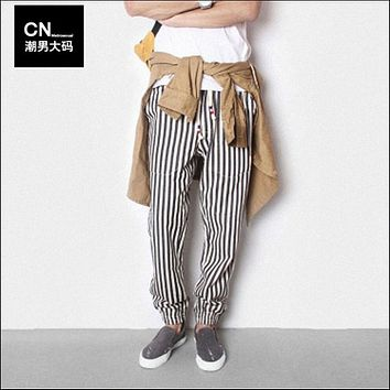 HOT 2017 New Men black and white vertical stripe denim harem pants casual skinny trousers plus size clothing singer costumes