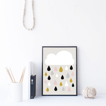 Kawaii Cloud Art, Colorful Raindrops Print, Nursery Printable, Kids Room Wall Art, Instant Download