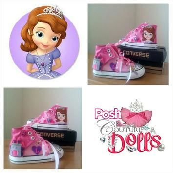 Princess Sophia the First Inspired Theme Custom Bling Converse
