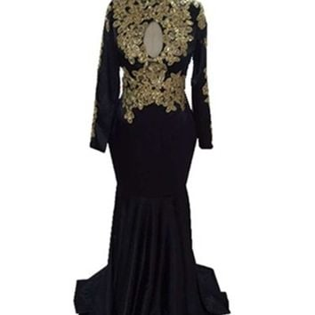 Gold Lace Appliques Sequined Mermaid Prom Dresses for Black Girls 2017 High Neck Long Sleeves African Evening Gowns Party Dress