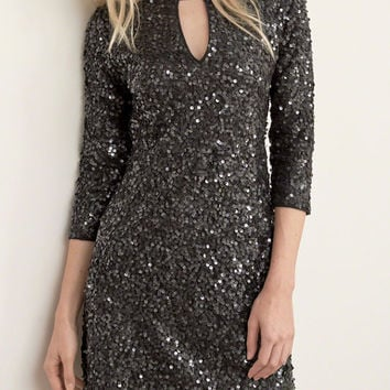 Black Sequin Detail Cut Out Front Mini Dress