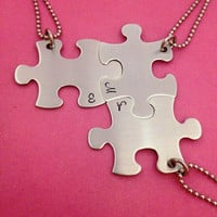 Puzzle Piece Necklace INITIALS ONLY Hand Stamped for Bridesmaids Graduation Personalized