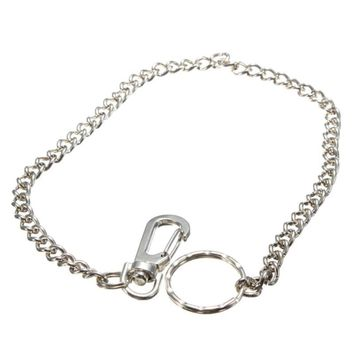 Vintage Silver Color Extra Long Metal Keyring Shellhard Keychain Chain Hipster Key Wallet Belt Ring For Women Men Jewelry Bijoux