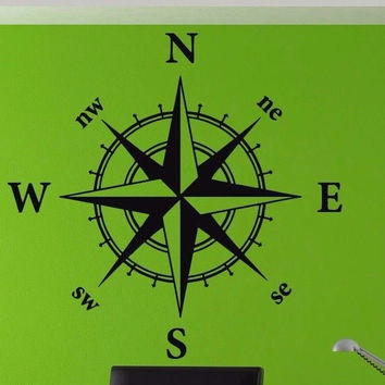 Compass Rose cardinal directions East West North South Sticker Compass tr1882