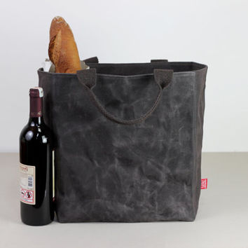 Extra large waxed canvas reusable grocery bag cotton handle deep large and durrable carry all bag shopping bag daily tote bag hard bag base
