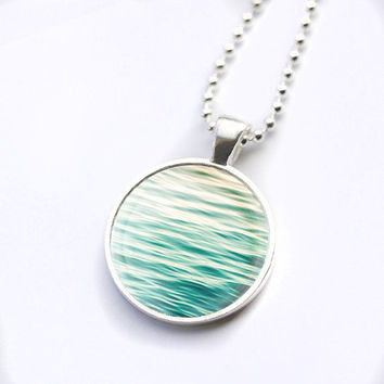 nautical necklace beach wearable art glass tile pendant photography beach pendant abstract water necklace water ripples mint pastel necklace