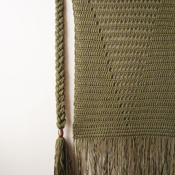 Woven Wool Tapestry / Bohemian Wall Hanging / Fringe Tapestry / Geometric Triangle / Army Green Olive Drab / Rustic Textile / Handwoven