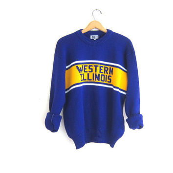 vintage school sweater. Purple and yellow Western Illinois uniform. XL