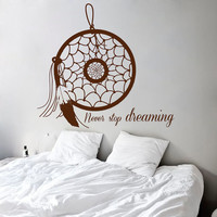 Wall Decals Dream Catcher Never Stop Dreaming Words Amulet Indian Mandala Feather Gym Home Vinyl Decal Sticker Bedroom Interior Decor kk719
