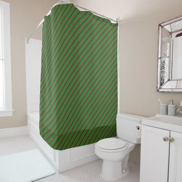 Red and Shades of Green Stripes Shower Curtain