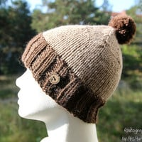 Handknit warm hat - slouchy beanie, handknit in Alpaka and wool light and dark brown with pompom, perfect holiday gift for her or him