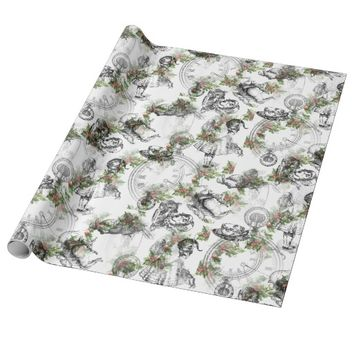 Alice in Wonderland Holly Stripe Wrapping Paper