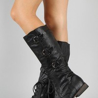Tessa Buckle Lace Up Military Knee High Boot