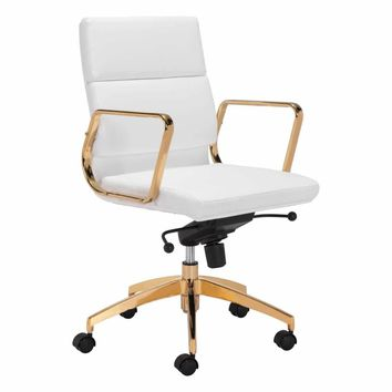 Scientist Low Back Office Chair White & Gold