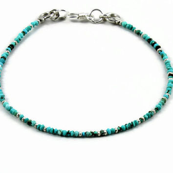 Turquoise Bracelet Sterling Silver Beaded Jewelry