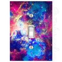 Solar System Light Switch Cover with Decal Milky Way Décor Kids Room Stickers LS26