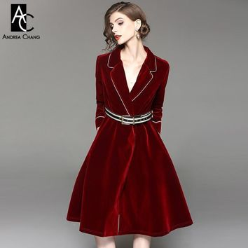 autumn winter  white border notched collar velvet dress