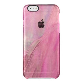 Girly Pink Purple Faux Stained Glass Pattern Uncommon Clearly™ Deflector iPhone 6 Case