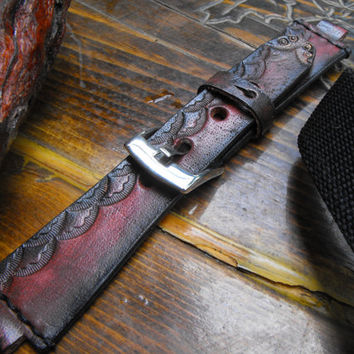 Unique watch strap, women leather strap, women watch band, waches straps, tooled watch band, leather band, antique watch, art watch strap