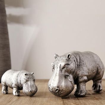 Living room TV cabinet furnishings modern simple silver hippopotamus model house soft ornaments home decoration accessories