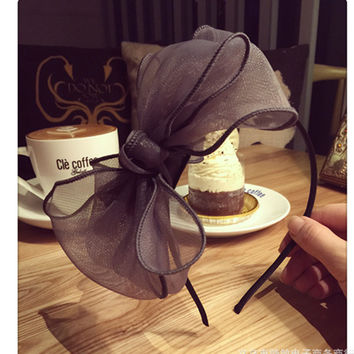 Fashion Women Flower Hair Band Big Knotted Voile Headband Twisted Head Wear Hairbands Accessories