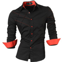 casual  male Dress Shirts, men clothing long sleeve social slim fit brand boutique cotton.