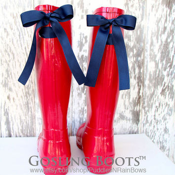 Custom Gold Monogrammed Red Rain Boots with Leopard Bows