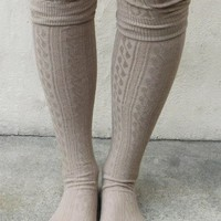 Cable Knit Tall Boot Socks - Black, Charcoal, Grey, Ivory, Taupe
