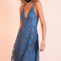 ASTR Drew Plunging Two-Tone Lace Mini Dress - Urban Outfitters