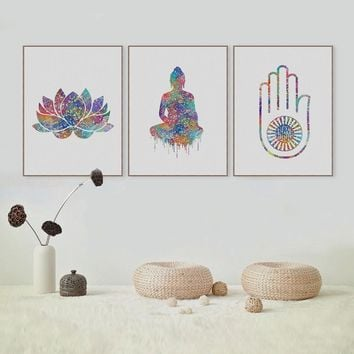 Original Watercolor Buddha Portrait Zen A4 Large Art Prints Poster Abstract Wall Pictures Canvas Painting Living Room Home Decor