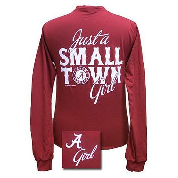 Alabama Crimson Tide Just A Small Town Bama Girl Bright Girlie Girl Long Sleeves T-Shirt