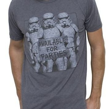 Junk Food Star Wars Storm Troopers Available for Parties Vintage Inspired Adult Heather Gray T-Shirt - Star Wars - | TV Store Online