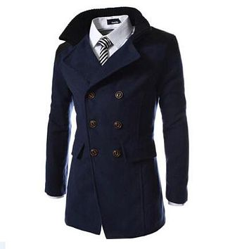 Chinese Size M-3XL Fashion Brand Patchwork Men Blue Casual Blends Coat and Jacket Double Breasted Peacoat Casaco Masculino
