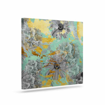 "Zara Martina Mansen ""Mint Gold Garden"" Green Gray Canvas Art"