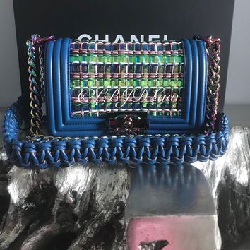 NWT CHANEL 2017 RAINBOW CABLE BOY BAG IRIDESCENT MERMAID PURPLE BLUE SMALL NEW