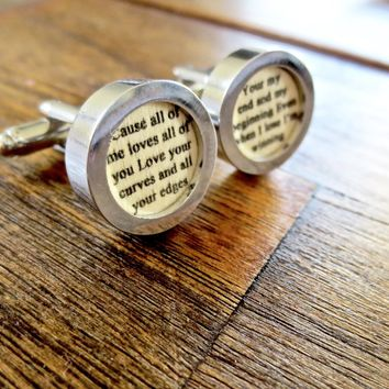 Wood 5th Anniversary Cufflinks Your Wedding Vows or Song