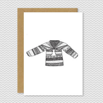 Funky Christmas (Ugly) Jumper Card - Hand drawn illustrated patterned knitted jumper - Quirky cool pattern xmas card