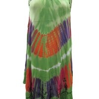 Womans Tank Dress Green Embroidered Tie Dye Boho Beach Dresses Cover Up