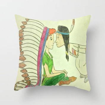 Peter Pan and Tiger Lily Throw Pillow by Elyse Notarianni   Society6