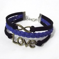 infinity bracelet, love bracelet, infinity charm and love charm, men's women's leather bracelets, braided bracelets, valentine's day gift