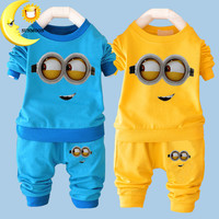 New baby boy clothes sets cartoon casual kids minions suits infant girl children clothing set 2pcs T shirt+pants