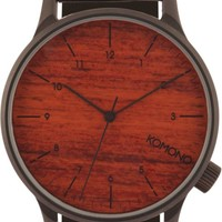 Komono Winston Black Wood Analog Watch