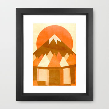sunset reflections across the lake Framed Art Print by parisian samurai studio