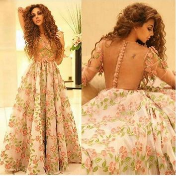 Dubai Fashionable 3D Printting Evening Dresses A Line Long Sleevs V Neck Sheer Buttons Back Lace Flowers Formal Gowns Real Image