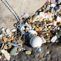 Fuzen Silver and Porcelain Necklace in Off White