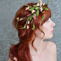 Rustic bridal headband, woodland crown, floral tiara, wedding hair accessories