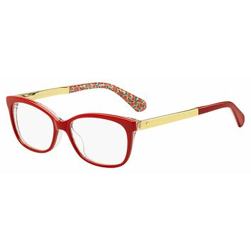 Kate Spade - Jodiann 54mm Red Green Palladium Transparent Eyeglasses / Demo Lenses